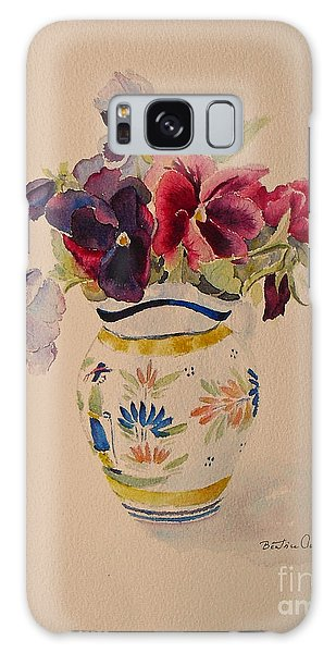 Pansies In A Quimper Pot Galaxy Case
