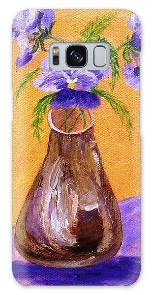 Pansies In Brown Vase Galaxy Case