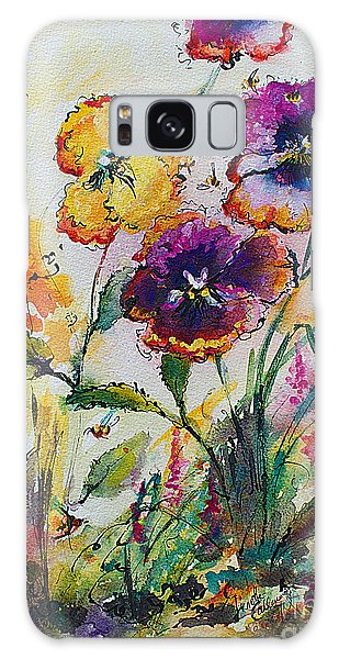 Pansies In My Garden Watercolor And Ink Galaxy Case