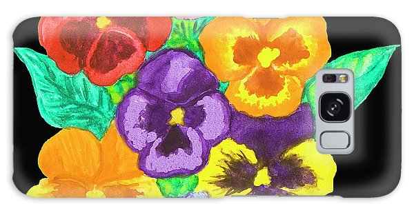Pansies On Black Galaxy Case by Irina Afonskaya