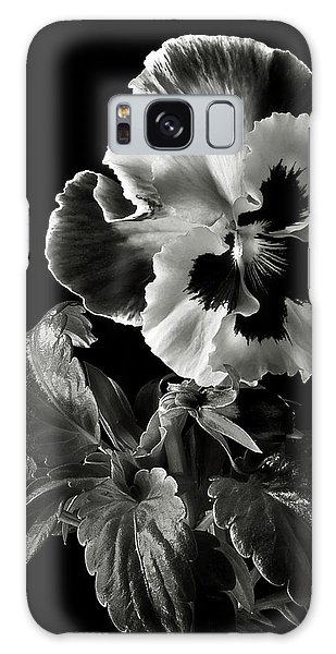 Pansy In Black And White Galaxy Case