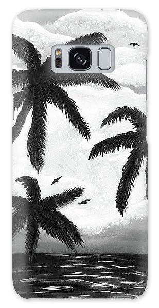 Galaxy Case featuring the painting Paradise In Black And White by Teresa Wing