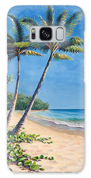 Tropical Paradise Landscape - Hawaii Beach And Palms Painting Galaxy Case