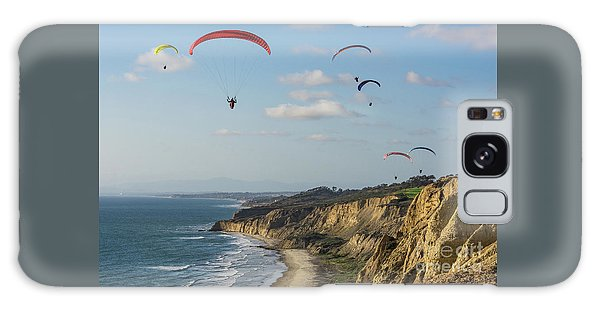 Paragliders At Torrey Pines Gliderport Over Black's Beach Galaxy Case