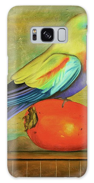 Parakeet On A Persimmon Galaxy Case by Leah Saulnier The Painting Maniac