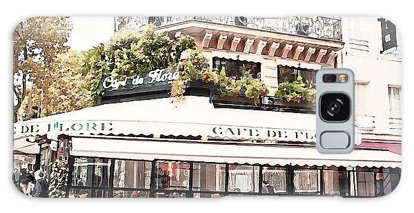 Street Cafe Galaxy Case - Paris Cafe De Flore Famous Landmark - Paris Street Cafe Restaurant  by Kathy Fornal