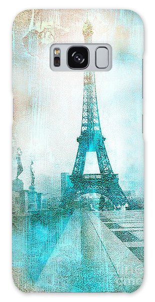 Paris Eiffel Tower Aqua Impressionistic Abstract Galaxy Case