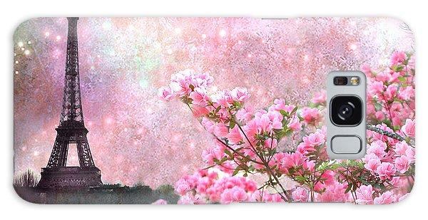Paris Eiffel Tower Cherry Blossoms - Paris Spring Eiffel Tower Pink Cherry Blossoms  Galaxy Case