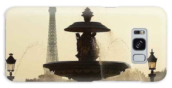 Paris Fountain In Sepia Galaxy Case