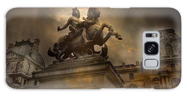 Paris - Louvre Palace - Kings Of Paris - King Louis Xiv Monument Sculpture Statue Galaxy Case by Kathy Fornal