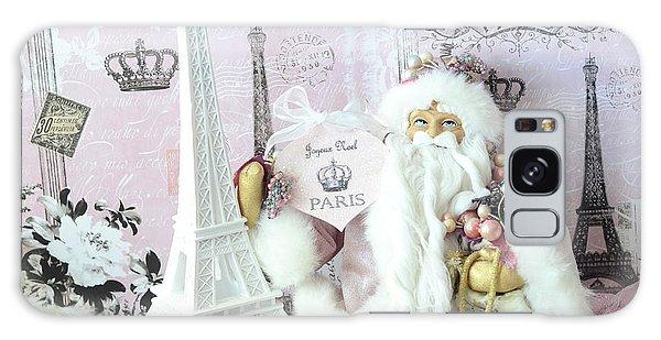 Santa Claus Galaxy Case - Paris Shabby Chic Holiday Santa - Paris Pink Santa Claus Joyeux Noel - Pink Santa Eiffel Tower Print by Kathy Fornal