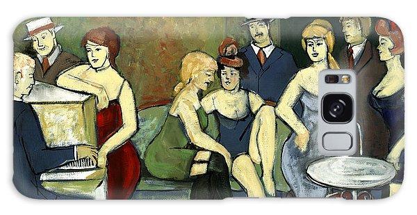 Paris Salon Scene Women In Seductive Cloths Impressionistic Piano Hats Table Chair Mustache  Galaxy Case