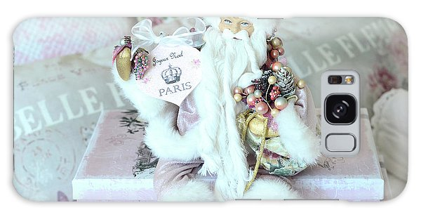 Santa Claus Galaxy Case - Paris Shabby Chic Pink And White Santa - Joyeux Noel - Shabby Chic Santa Claus Prints Home Decor by Kathy Fornal
