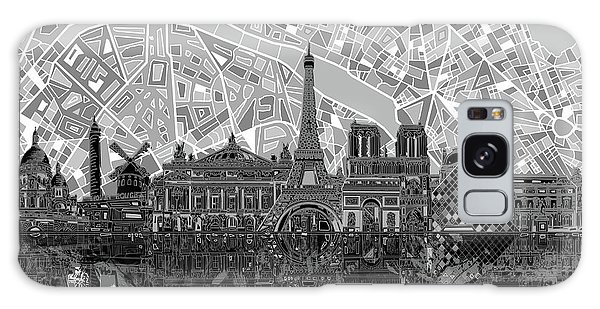 Paris Skyline Black And White Galaxy Case