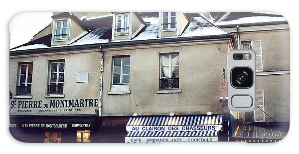 Street Cafe Galaxy Case - Paris St. Pierre Montmartre Cafe Restaurant Pub Photos - Paris Winter Snow In Montmartre District  by Kathy Fornal