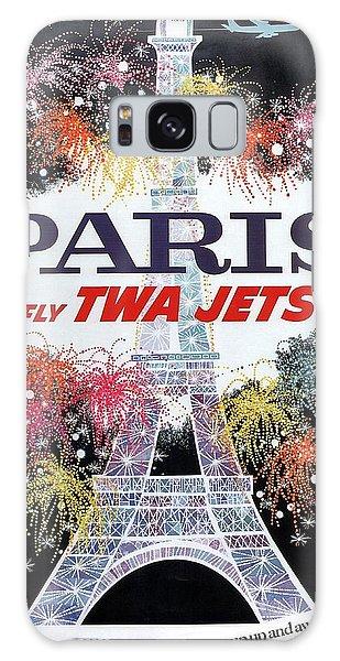 Paris - Twa Jets - Trans World Airlines - Eiffel Tower - Retro Travel Poster - Vintage Poster Galaxy Case