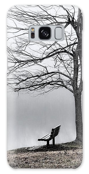Park Bench And Leafless Tree In Fog - Hi-key Galaxy Case