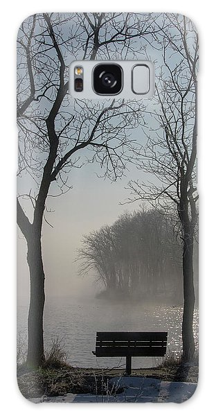 Park Bench In Morning Fog Galaxy Case