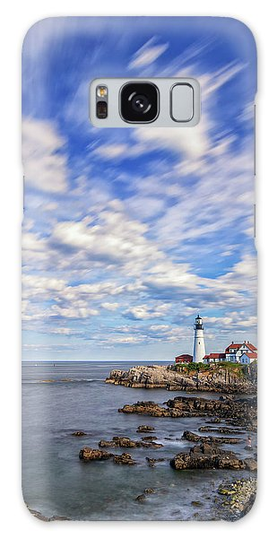 Passing Clouds At Portland Head Light Galaxy Case