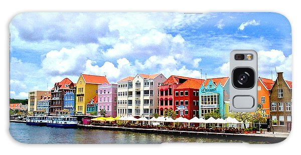 Pastel Building Coastline Of Caribbean Galaxy Case by Amy McDaniel