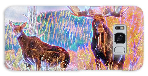 Galaxy Case featuring the photograph Pastel Moose Couple by Ray Shiu