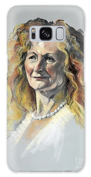 Pastel Portrait Of Woman With Frizzy Hair Galaxy Case