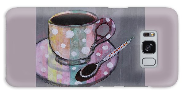 Galaxy Case featuring the painting Pastel Stripes Polka Dotted Coffee Cup by Robin Maria Pedrero