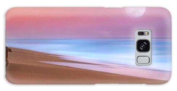 Pastel Sunset And Moonrise Over Hutchinson Island Beach, Florida. Galaxy Case