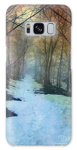 Path Through The Woods In Winter At Sunset Galaxy Case