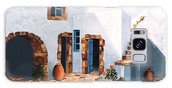 Patio In Patmos, Greece-prints From Original Oil Painting Galaxy Case