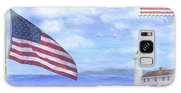 Patriotic Illustrated Lighthouse Galaxy Case