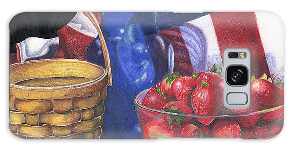 Patriotic Strawberries Galaxy Case by Angela Armano