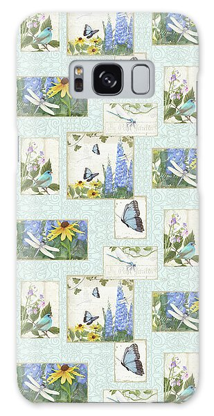 Pattern Butterflies Dragonflies Birds And Blue And Yellow Floral Galaxy Case by Audrey Jeanne Roberts