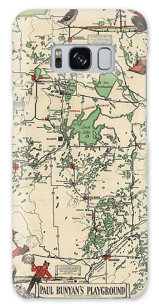 Paul Bunyan's Playground - Northern Minnesota - Vintage Illustrated Map - Cartography Galaxy Case