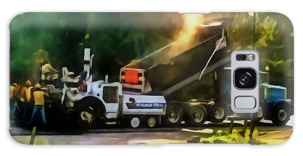 Pavement Machine Laying Fresh Asphalt  On Top Of The Gravel Base During Highway Construction Galaxy Case