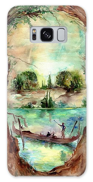 Skull Galaxy Case - Paysage With A Boat by Suzann Sines