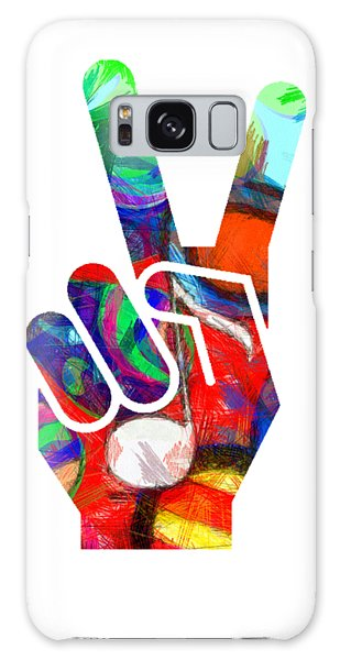 Peace Galaxy Case - Peace Hippy Paint Hand Sign by Edward Fielding