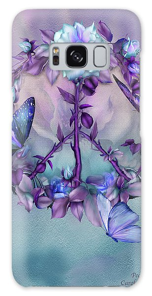 Galaxy Case featuring the mixed media Peace Rose - Blue by Carol Cavalaris