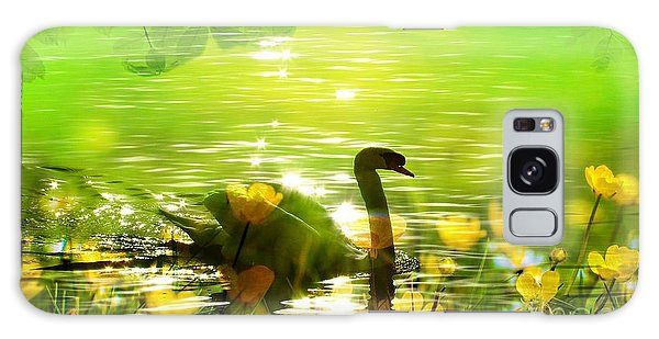 Peaceful Swan In Lake With Flowers Galaxy Case
