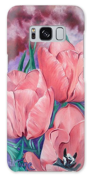 Perennially Perfect  Peach Pink Tulips Galaxy Case