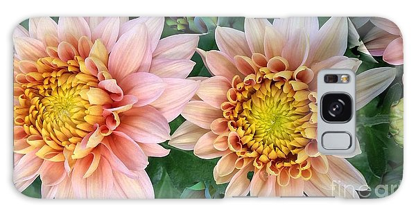 Peachy Chrysanthemums Galaxy Case by Jeannie Rhode