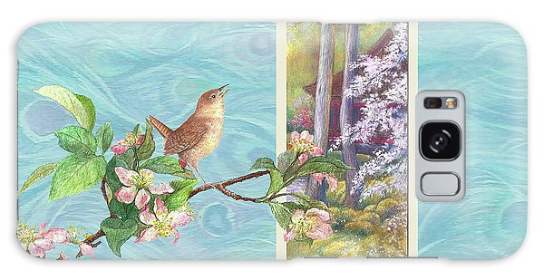 Peacock And Cherry Blossom With Wren Galaxy Case