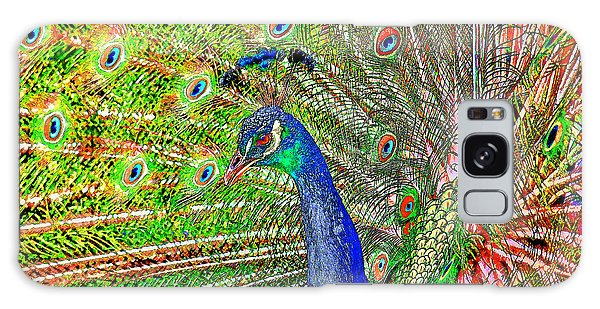 Peacock Fanned Tail Feathers Galaxy Case by Tracie Kaska