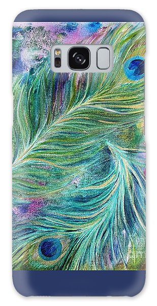Peacock Feathers Bright Galaxy Case by Denise Hoag