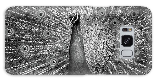 Peacock In Black And White Galaxy Case