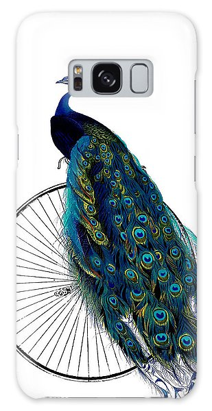 Peacocks Galaxy Case - Peacock On A Bicycle, Home Decor by Madame Memento