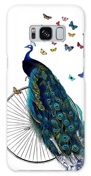 Peacocks Galaxy Case - Peacock On A Bicycle With Butterflies by Madame Memento