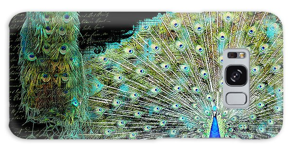 Peacock Pair On Tree Branch Tail Feathers Galaxy Case