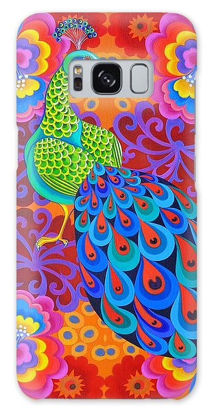 Iridescent Galaxy Case - Peacock With Flowers by Jane Tattersfield