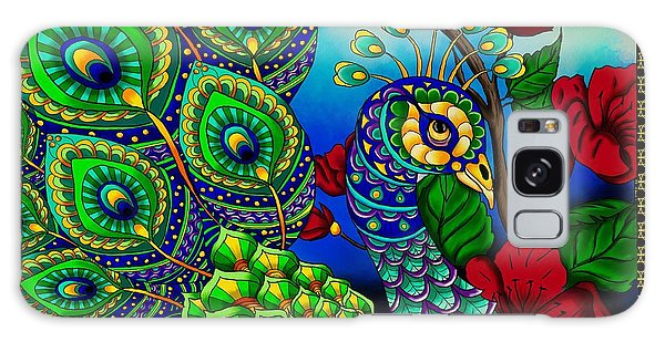 Peacock Zentangle Inspired Art Galaxy Case